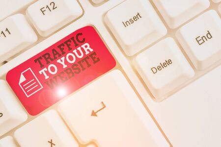 Word writing text Traffic To Your Website. Business photo showcasing Lifeblood of online business more Potential Leads White pc keyboard with empty note paper above white background key copy space