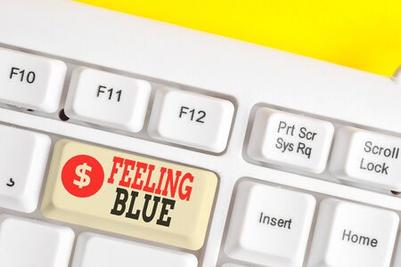 Text sign showing Feeling Blue. Business photo showcasing Feeling of desperation because of sadness or missing someone White pc keyboard with empty note paper above white background key copy space
