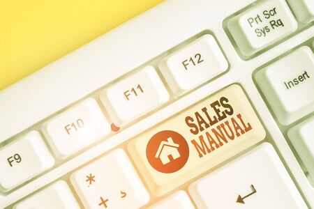 Text sign showing Sales Manual. Business photo text set of printed materials containing product descriptions White pc keyboard with empty note paper above white background key copy space Stok Fotoğraf