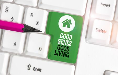 Text sign showing Good Genes Good Living. Business photo showcasing Inherited Genetic results in Longevity Healthy Life White pc keyboard with empty note paper above white background key copy space