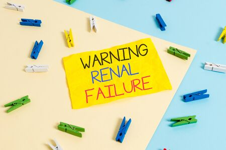 Handwriting text writing Warning Renal Failure. Conceptual photo stop Filtering Excess Waste Acute Kidney malfunction Colored clothespin paper empty reminder yellow blue floor background office Stock fotó