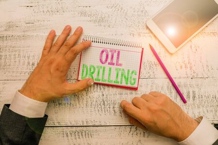 Conceptual hand writing showing Oil Drilling. Concept meaning involves the drilling and pumping of oil from underground wells