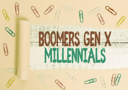Handwriting text Boomers Gen X Millennials. Conceptual photo generally considered to be about thirty years
