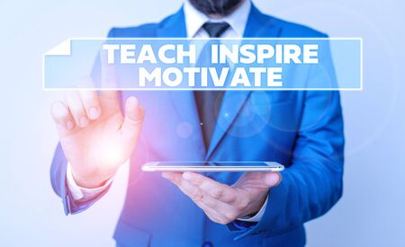 Handwriting text Teach Inspire Motivate. Conceptual photo Spark the Imagination to Feel the need to Learn Businessman with pointing finger in front of him