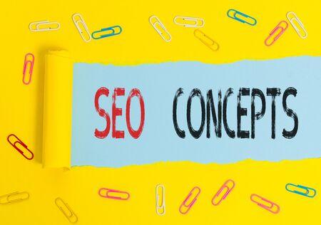 Texte de l'écriture Seo Concepts. Photo conceptuelle un processus d'augmentation de la qualité du trafic sur le site Web