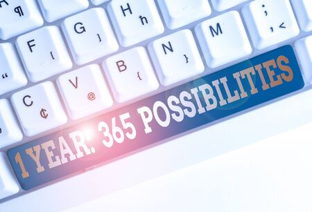 Text sign showing 1 Year 365 Possibilities. Business photo text Beginning of a New Day Lots of Chances to Start White pc keyboard with empty note paper above white background key copy space Stock fotó
