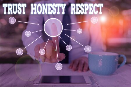 Word writing text Trust Honesty Respect. Business photo showcasing Respectable Traits a Facet of Good Moral Character Woman wear formal work suit presenting presentation using smart device Stok Fotoğraf