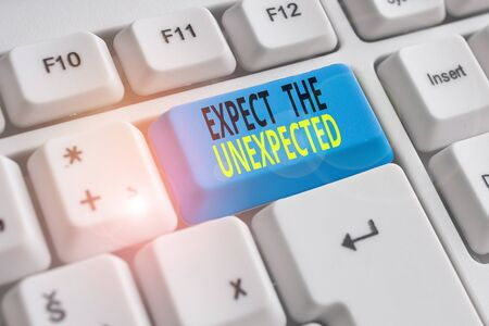 Text sign showing Expect The Unexpected. Business photo showcasing Anything can Happen Consider all Possible Events White pc keyboard with empty note paper above white background key copy space
