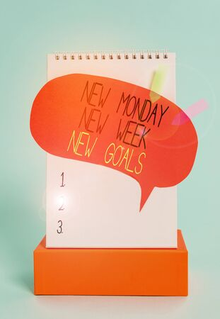 Writing note showing New Monday New Week New Goals. Business concept for Be positive every start of the week Spiral notepad box speech bubble arrow banners cool colored background