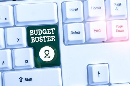Conceptual hand writing showing Budget Buster. Concept meaning Carefree Spending Bargains Unnecessary Purchases Overspending White pc keyboard with note paper above the white background