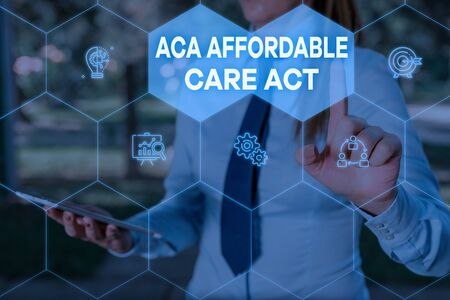 Handwriting text Aca Affordable Care Act. Conceptual photo providing cheap treatment to patient several places Woman wear formal work suit presenting presentation using smart device