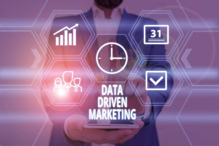 Text sign showing Data Driven Marketing. Business photo showcasing Strategy built on Insights Analysis from interactions Male human wear formal work suit presenting presentation using smart device