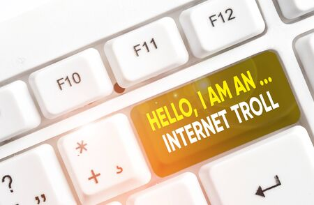 Writing note showing Hello I Am An Internet Troll. Business concept for Social media troubles discussions arguments White pc keyboard with note paper above the white background