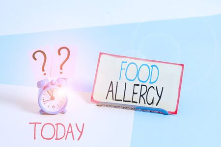 Text sign showing Food Allergy. Business photo showcasing an abnormal immune response after eating a certain food Stock Photo