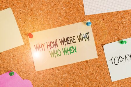Writing note showing Why How Where What Who When. Business concept for Questions to find solutions Query Asking Corkboard size paper thumbtack sheet billboard notice board 版權商用圖片