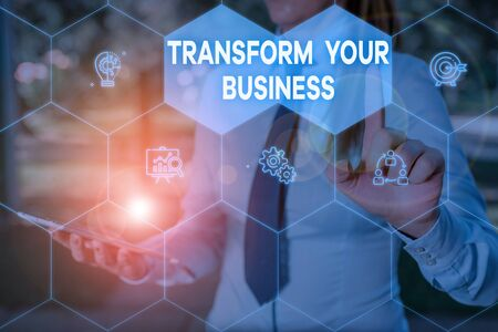 Handwriting text Transform Your Business. Conceptual photo Modify energy on innovation and sustainable growth Woman wear formal work suit presenting presentation using smart device