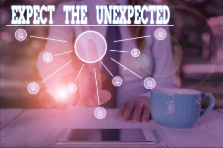 Word writing text Expect The Unexpected. Business photo showcasing Anything can Happen Consider all Possible Events Woman wear formal work suit presenting presentation using smart device