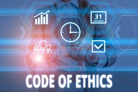 Writing note showing Code Of Ethics. Business concept for basic guide for professional conduct and imposes duties Woman wear formal work suit presenting presentation using smart device