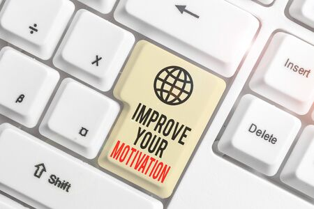 Writing note showing Improve Your Motivation. Business concept for Boost your self drive Enhance Motives and Goals White pc keyboard with note paper above the white background