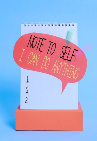 Writing note showing Note To Self I Can Do Anything. Business concept for Motivation for doing something confidence Spiral notepad box speech bubble arrow banners cool colored background 版權商用圖片
