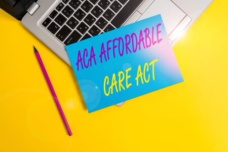 Conceptual hand writing showing Aca Affordable Care Act. Concept meaning providing cheap treatment to patient several places Metallic laptop small paper sheet pencil colored background