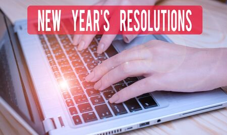 Text sign showing New Year S Resolutions. Business photo text Wishlist List of things to accomplish or improve woman laptop computer smartphone mug office supplies technological devices 版權商用圖片