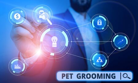 Word writing text Pet Grooming. Business photo showcasing hygienic care and enhancing the appearance of the pets Male human wear formal work suit presenting presentation using smart device
