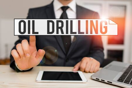 Text sign showing Oil Drilling. Business photo text involves the drilling and pumping of oil from underground wells