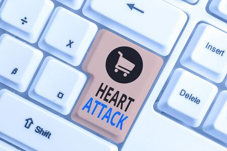 Word writing text Heart Attack. Business photo showcasing sudden and sometimes fatal occurrence of coronary thrombosis White pc keyboard with empty note paper above white background key copy space 版權商用圖片