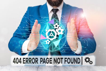 Text sign showing 404 Error Page Not Found. Business photo showcasing Webpage on Server has been Removed or Moved Male human wear formal work suit presenting presentation using smart device