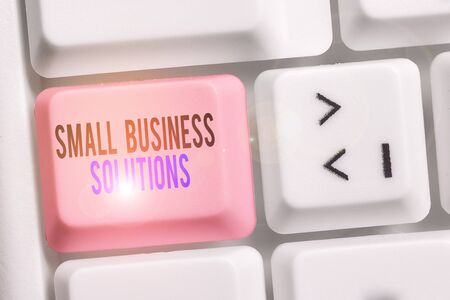 Writing note showing Small Business Solutions. Business concept for a Company to solve Specific Trade problems Keyboard with note paper on white background key copy space