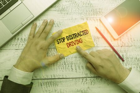 Word writing text Stop Distracted Driving. Business photo showcasing asking to be careful behind wheel drive slowly