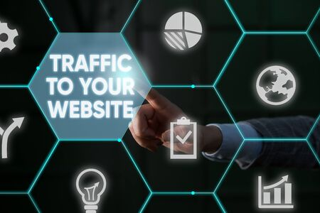 Writing note showing Traffic To Your Website. Business concept for Lifeblood of online business more Potential Leads Male human wear formal suit presenting using smart device