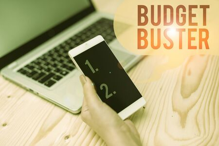 Word writing text Budget Buster. Business photo showcasing Carefree Spending Bargains Unnecessary Purchases Overspending woman laptop computer smartphone mug office supplies technological devices Фото со стока
