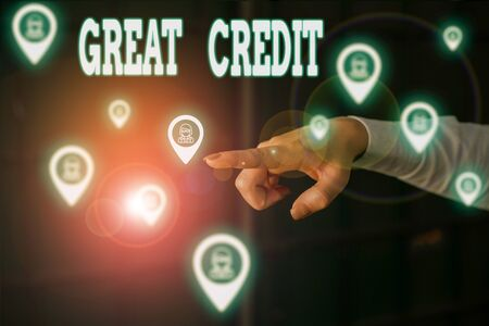 Writing note showing Great Credit. Business concept for borrower has high credit score and is a safe credit risk Woman wear formal work suit presenting presentation using smart device