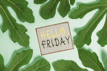 Writing note showing Hello Friday. Business concept for Greetings on Fridays because it is the end of the work week