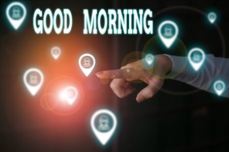 Writing note showing Good Morning. Business concept for expressing good wishes on meeting or parting during the morning Woman wear formal work suit presenting presentation using smart device