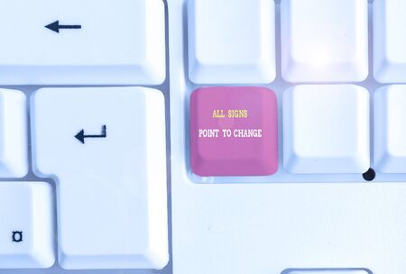 Text sign showing All Signs Point To Change. Business photo text Necessity of doing things differently new vision White pc keyboard with empty note paper above white background key copy space