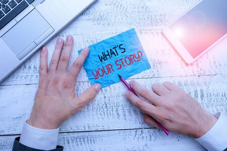 Word writing text What S Your Story Question. Business photo showcasing Relate Something About Yourself Any Updates