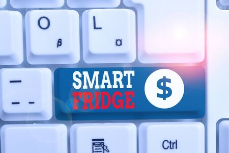 Writing note showing Smart Fridge. Business concept for programmed to sense what kinds of products being stored inside White pc keyboard with note paper above the white background Zdjęcie Seryjne