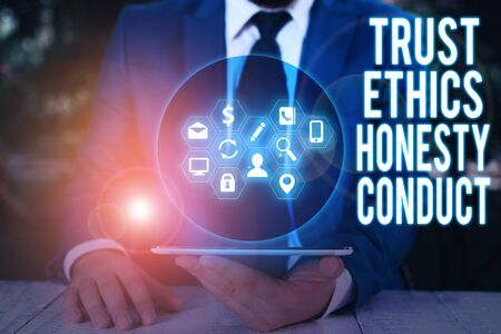 Word writing text Trust Ethics Honesty Conduct. Business photo showcasing connotes positive and virtuous attributes