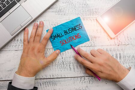 Word writing text Small Business Solutions. Business photo showcasing a Company to solve Specific Trade problems