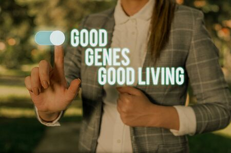 Text sign showing Good Genes Good Living. Business photo showcasing Inherited Genetic results in Longevity Healthy Life Woman wear formal work suit presenting presentation using smart device