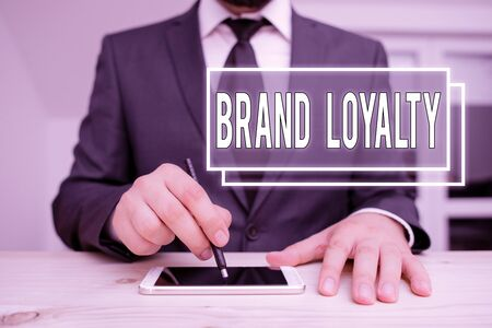 Handwriting text writing Brand Loyalty. Conceptual photo Repeat Purchase Ambassador Patronage Favorite Trusted