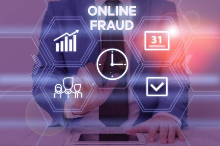 Text sign showing Online Fraud. Business photo text use of Internet services to deceive victims and steal money Male human wear formal work suit presenting presentation using smart device