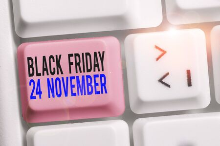 Writing note showing Black Friday 24 November. Business concept for Special sales Thanksgiving discounts Clearance Keyboard with note paper on white background key copy space Stock fotó