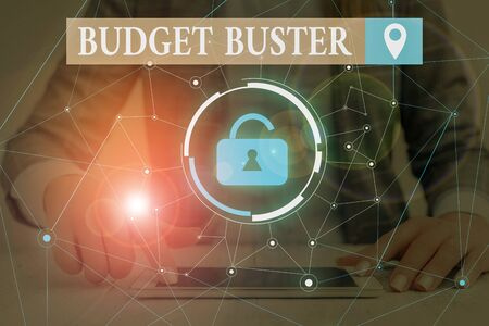 Text sign showing Budget Buster. Business photo text Carefree Spending Bargains Unnecessary Purchases Overspending Woman wear formal work suit presenting presentation using smart device Фото со стока