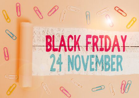 Handwriting text Black Friday 24 November. Conceptual photo Special sales Thanksgiving discounts Clearance Stock fotó