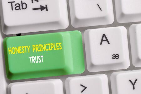 Text sign showing Honesty Principles Trust. Business photo showcasing believing someone words for granted Telling truth White pc keyboard with empty note paper above white background key copy space Фото со стока