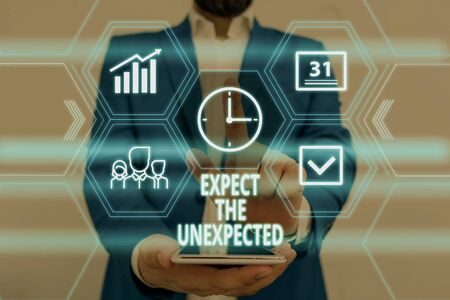 Text sign showing Expect The Unexpected. Business photo showcasing Anything can Happen Consider all Possible Events Male human wear formal work suit presenting presentation using smart device